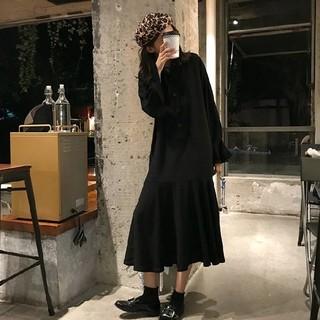 ZARA - 【新品未使用】レディース ロング丈 シャツワンピース 黒 フレアスカート マキシ