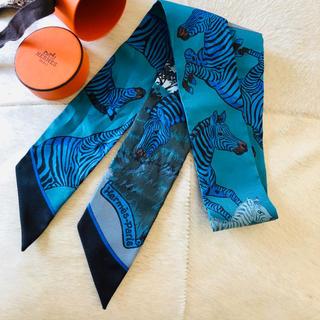 エルメス(Hermes)のレア HERMES エルメス ツイリー ゼブラ ブルー(バンダナ/スカーフ)