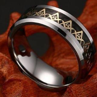 フリーメイソン デザイン リング 秘密結社シンボル 指輪 (ブラック 16号)(リング(指輪))