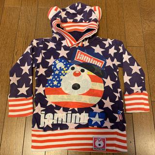 ジャム(JAM)のJAM used 美品 100㎝ アメリカテンチョー フード付パーカー ネイビー(Tシャツ/カットソー)