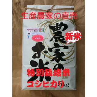 ★新米★[白米]特別栽培米コシヒカリ5kg有機肥料減農薬栽培(米/穀物)