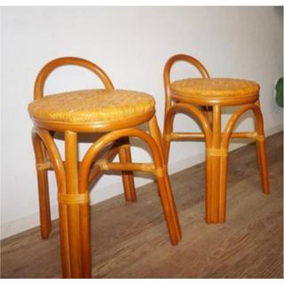 アウトレット 2脚セットアジアンテイスト 籐 座椅子 イス 椅子 スツール(スツール)