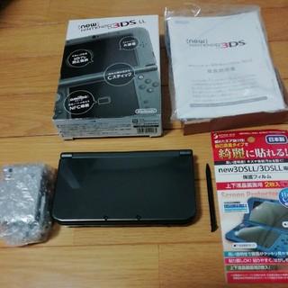 ニンテンドー3DS(ニンテンドー3DS)の☆美品★NEW 3DSLL メタリックブラック 本体 おまけソフト、箱一式付属(携帯用ゲーム本体)