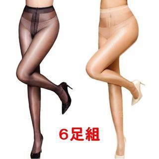 お得な6足組 12D  ツヤ光沢 パンスト 美脚 ブラック・ベージュ 新品(タイツ/ストッキング)