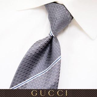 グッチ(Gucci)の【64】GUCCI グッチ 新品本物 グレー SILK ネクタイ(ネクタイ)