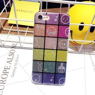 iPhone7 / 8 ラメ マルチ 顔文字 キューブ ブロック ケース(iPhoneケース)