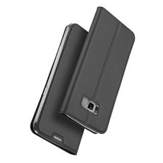 Galaxy s8 ダークグレー スリム 手帳型ケース(Androidケース)