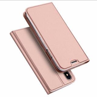 薄型 iPhoneX ローズゴールド シンプル 手帳型 ケース(iPhoneケース)