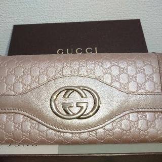 グッチ(Gucci)のGUCCI グッチ マイクロシマレザー二つ折り長財布 GGマーク(財布)