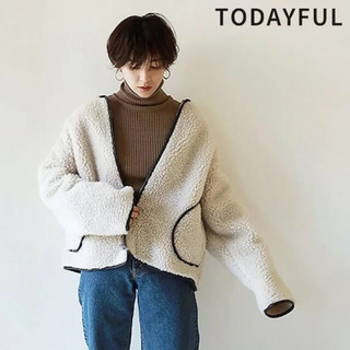 TODAYFUL - 即日発送 TODAYFUL パイピングボアブルゾン エクリュ 38