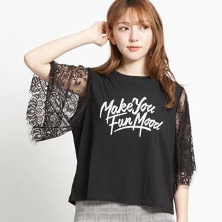 ウィゴー(WEGO)のWEGO レーススリーブプリントTシャツ(Tシャツ(半袖/袖なし))