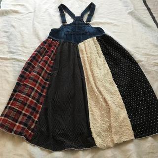 しまむら - パッチワーク調のジャンバースカート♪