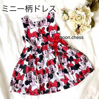 Disney - 【新品】ベビー キッズ ミニー 柄 リボン ワンピース ドレス 100