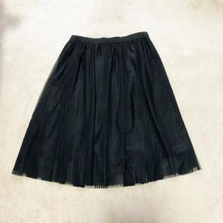 ディーエイチシー(DHC)のブラック/黒 チュールスカート(ひざ丈スカート)