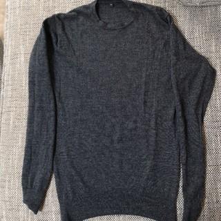 ムジルシリョウヒン(MUJI (無印良品))の無印良品 ウール100% 薄手セーター クルーネック 丸首 ダークグレー(ニット/セーター)