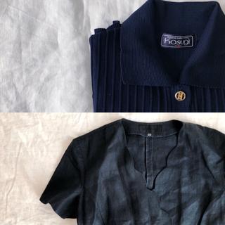 ネイビー 金ボタンのリブニットポロ(カットソー(半袖/袖なし))