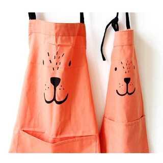 【可愛い♪】お揃いエプロン ママ+キッズ 親子コーデ セット オレンジ y475(キッチン小物)