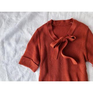 ビターオレンジ リボンのサマーニット(カットソー(半袖/袖なし))