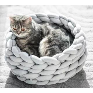 猫犬兼用 ベッド 手編みベッド 猫の巣 犬ベッド 可愛い (グレー)