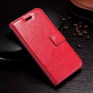iPhone6 6S 手帳型ケース レザー フィルム 携帯ケース レッド(iPhoneケース)
