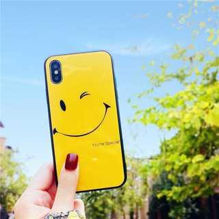 背面ガラス iPhoneX スマイル ガラスケース アイフォンテン(iPhoneケース)