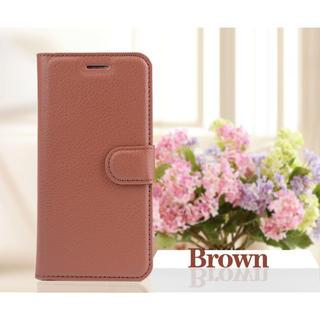 iPhone6 6s 手帳型ケース フィルム カード 定期入れ ブラウン(iPhoneケース)