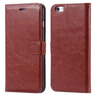 iPhone6 6S 手帳型レザーケース+保護フィルム収納5携帯ケース ブラウン(iPhoneケース)