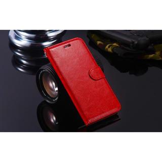 iPhone6 6S 手帳型レザーケース+保護フィルム収納5携帯ケース レッド(iPhoneケース)