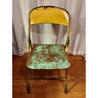 【送料込】アンティークチェア 折り畳み木製パイプ椅子 ディスプレイ