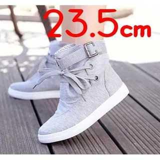 【スニーカー】ハイカット レディース 水玉柄 シューズ 靴 紐靴 23.5(スニーカー)