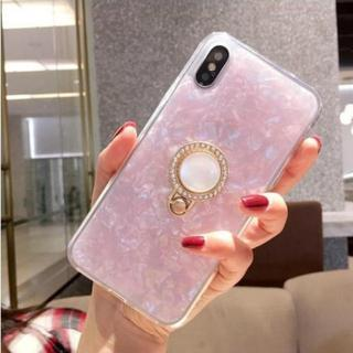 ≪iphone7,8≫ 宝石柄☆ リングブラケット付き スマホケース【ピンク】(iPhoneケース)