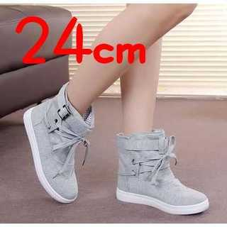 ◆かわいいハイカットスニーカー キャンバス シューズ 靴 24cm レースアップ(スニーカー)