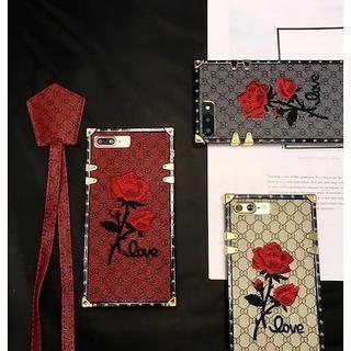 バラ刺繍 スクエア X/XS ストラップ付 iPhoneケース(iPhoneケース)