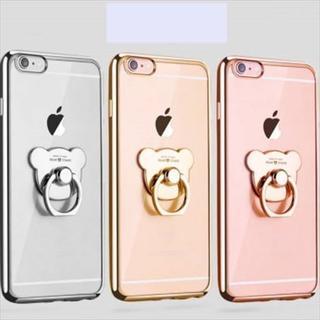 新品 くまリング付きクリアiPhoneケース 全3色 送料無料(iPhoneケース)