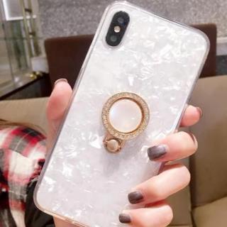 ≪iphone7,8≫ 宝石柄☆ リングブラケット付き スマホケース【クリア】(iPhoneケース)