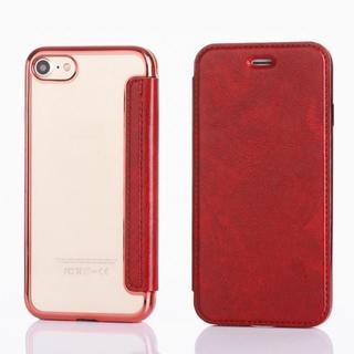 iPhone7 iPhone8 レッド 背面 クリア 手帳型ケース(iPhoneケース)