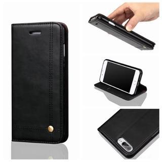 iPhone7 iPhone8 高級感 ブラック シンプル 手帳型ケース(iPhoneケース)