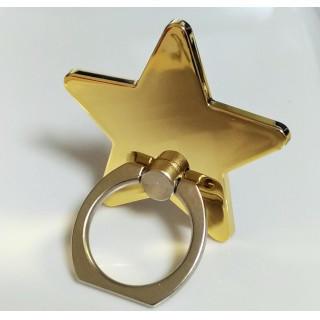 星型 バンカーリング スマホリング 360度回転 ゴールド 金色 光沢あり(その他)
