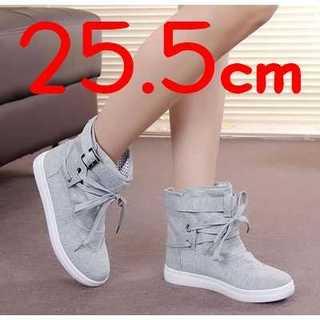 ★大きいサイズ★レディース ハイカットスニーカー 帆布 靴 シューズ 25.5(スニーカー)