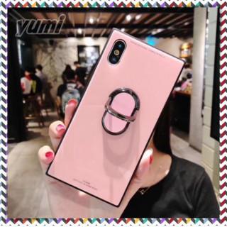 360℃回転リング付きスクエア型iPhone7 iPhone8用 ピンク(iPhoneケース)