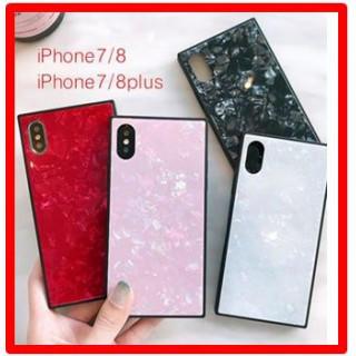 ピンク★iPhone 7/8 大理石風 スクエア シェル 貝殻 お洒落(iPhoneケース)