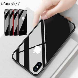 エッジ メタリック  iPhone8 iPhone7 ケース 背面ガラス クリア(iPhoneケース)