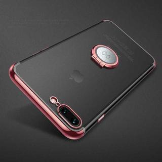 ローズ iPhone8 iPhone7 車載 ホルダー 背面 クリア リング (iPhoneケース)