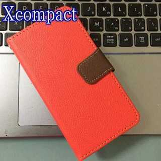 Xcompact レッド×ブラウン ツートンカラー(Androidケース)