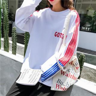 【即日発送】 大きいサイズ レッド ブルー ボーダー 原宿 韓国 ビッグTシャツ(Tシャツ(長袖/七分))