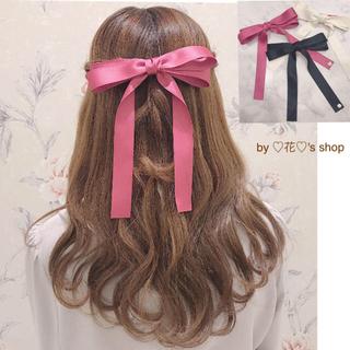 つけるだけで可愛いリボンバレッタ♡ピンク♡ガーリーコーデに♡髪型のポイントに♡