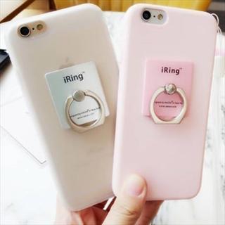 新品 シンプルカラーiRing付きiPhoneケース 全5色 送料無料(iPhoneケース)