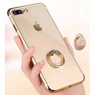 ゴールド iPhone7 iPhone8 背面クリア リング付き ハード(iPhoneケース)