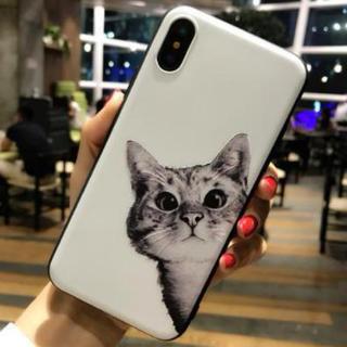 iphoneケース猫ちゃん柄TPUケース ソフトシェル iphoneX対応(白)(iPhoneケース)