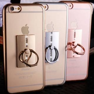 新品 きらきらバンカーリング付きクリアiPhoneケース 全3色 送料無料(iPhoneケース)
